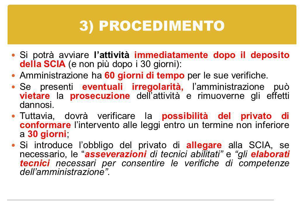 3) PROCEDIMENTO Si potrà avviare l'attività immediatamente dopo il deposito della SCIA (e non più dopo i 30 giorni):