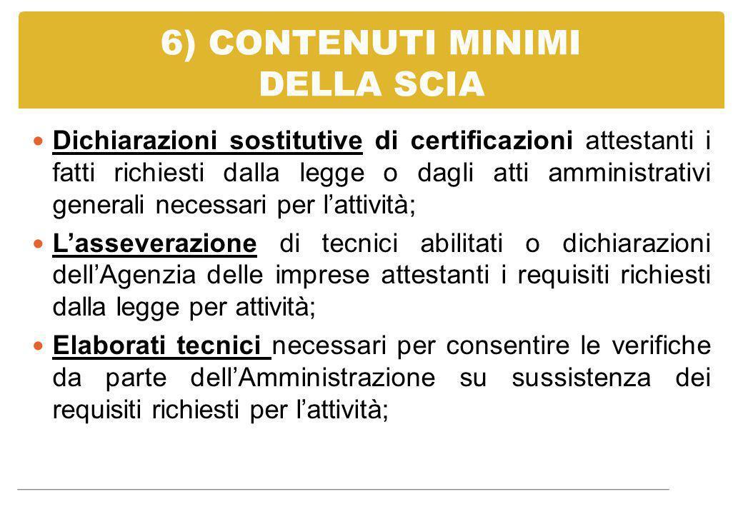 6) CONTENUTI MINIMI DELLA SCIA