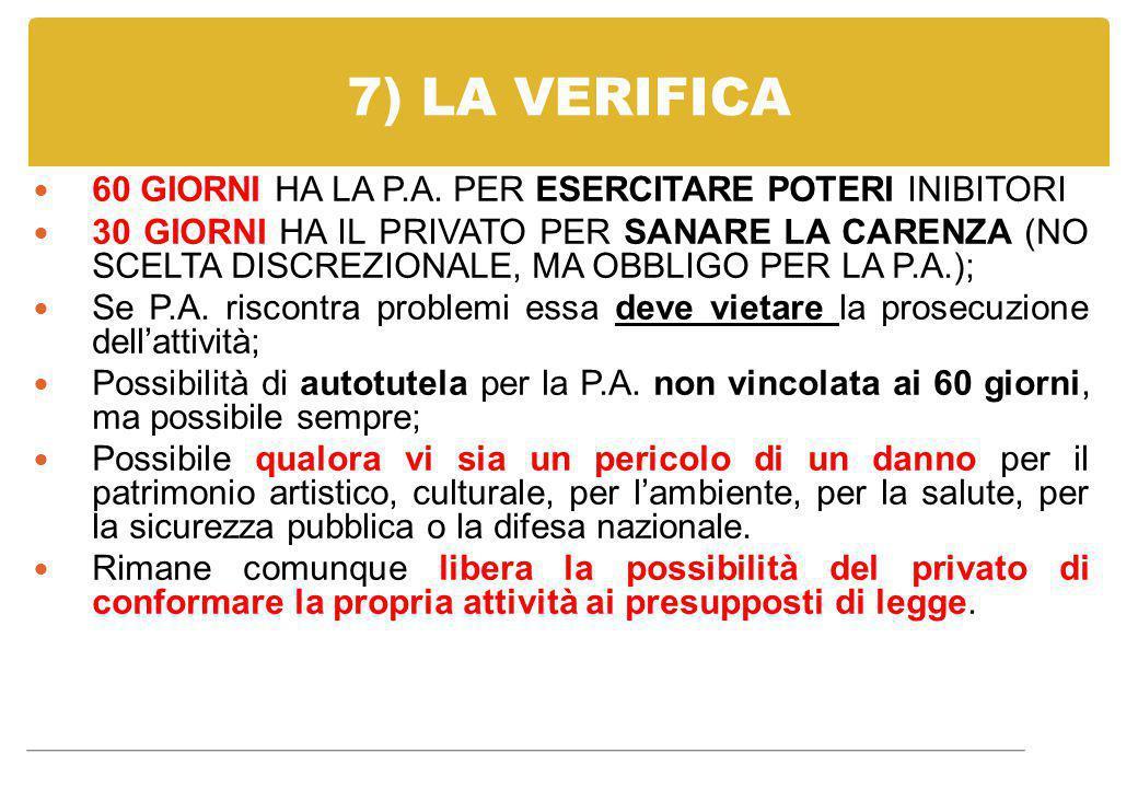 7) LA VERIFICA 60 GIORNI HA LA P.A. PER ESERCITARE POTERI INIBITORI