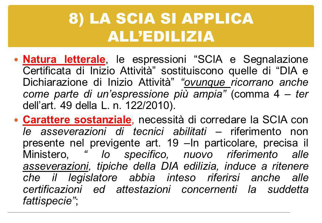 8) LA SCIA SI APPLICA ALL'EDILIZIA
