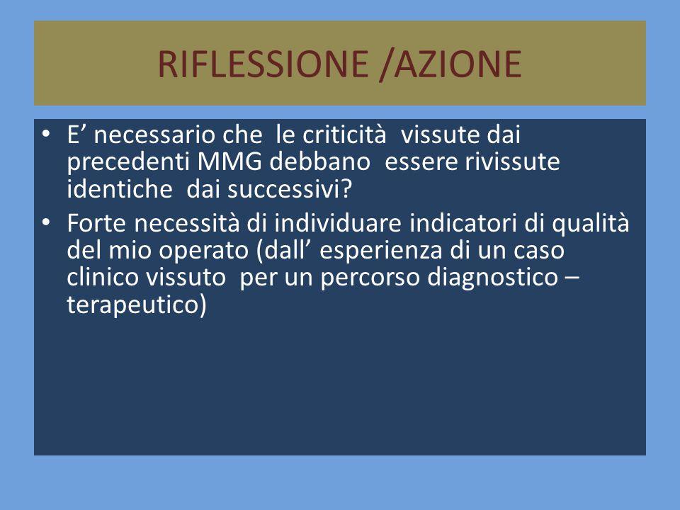 RIFLESSIONE /AZIONE E' necessario che le criticità vissute dai precedenti MMG debbano essere rivissute identiche dai successivi