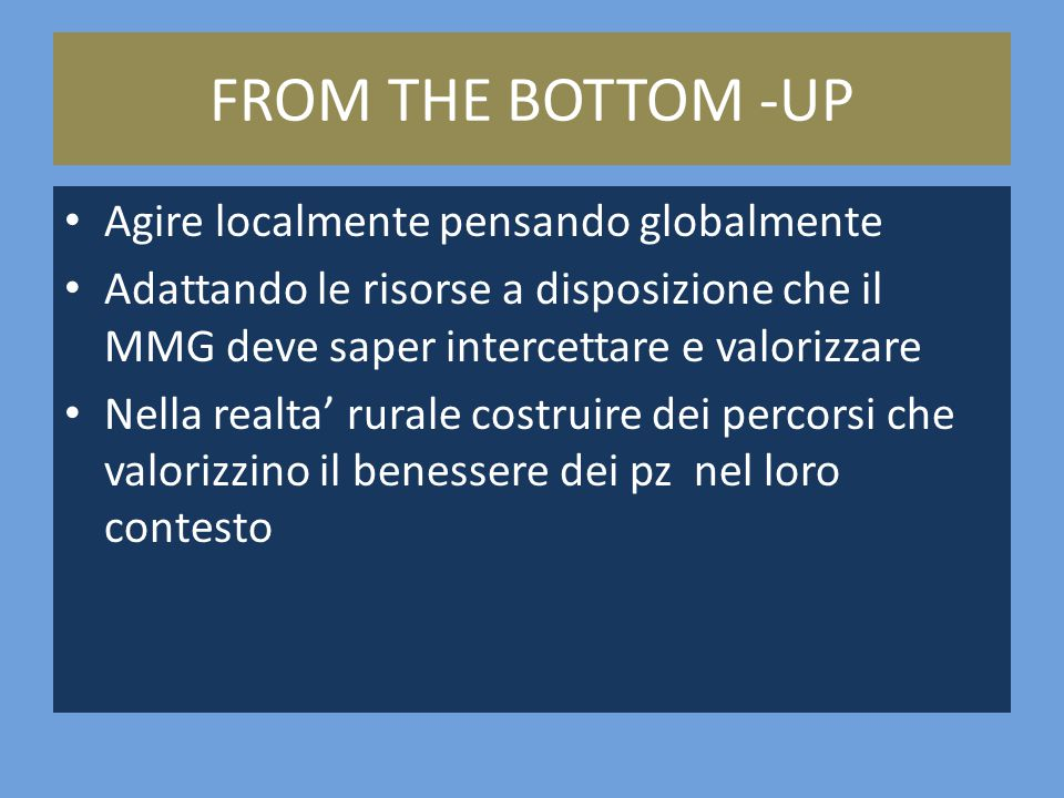 FROM THE BOTTOM -UP Agire localmente pensando globalmente