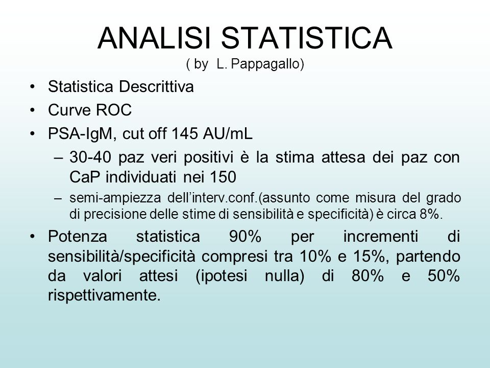 ANALISI STATISTICA ( by L. Pappagallo)