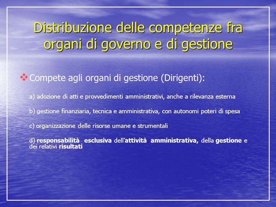 Distribuzione delle competenze fra organi di governo e di gestione