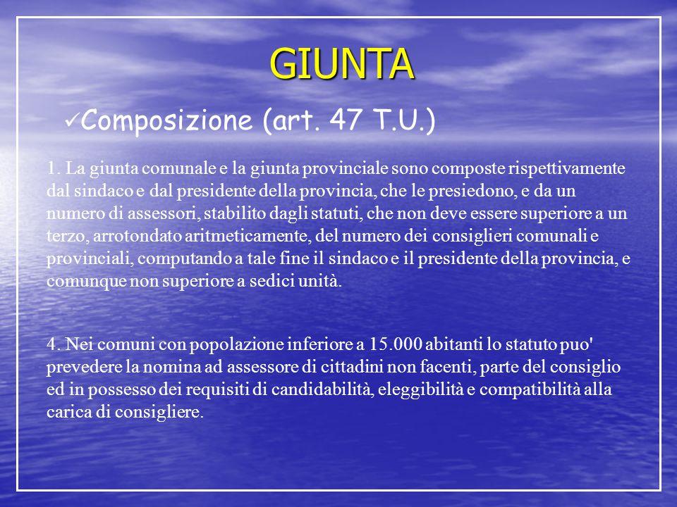 GIUNTA Composizione (art. 47 T.U.)