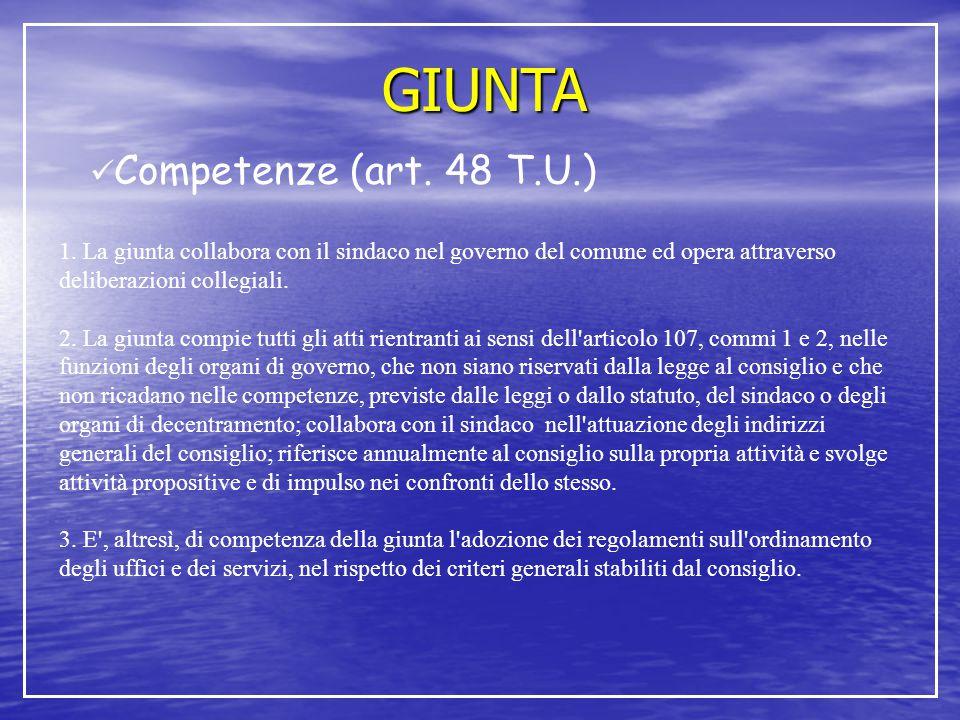 GIUNTA Competenze (art. 48 T.U.)