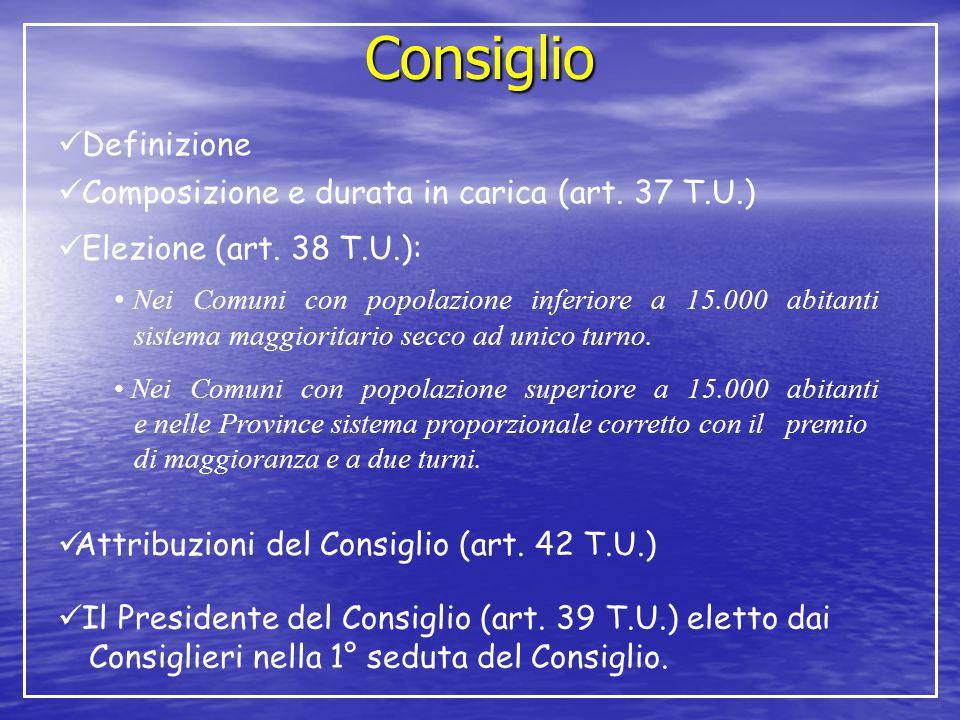 Consiglio Definizione Composizione e durata in carica (art. 37 T.U.)