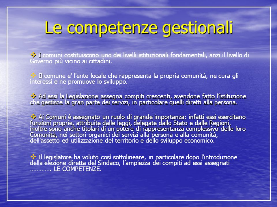 Le competenze gestionali