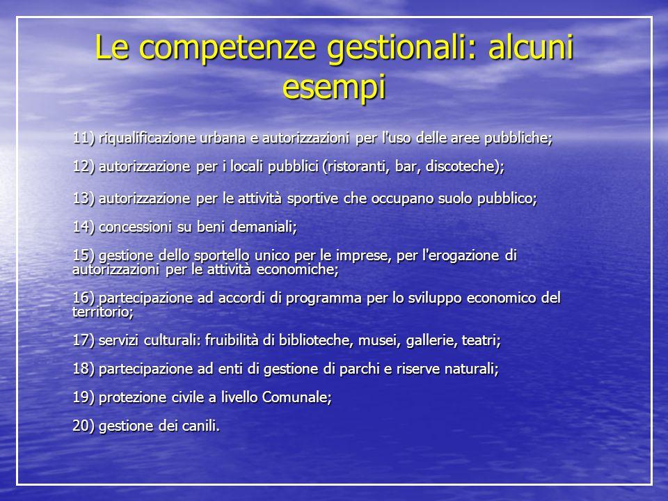 Le competenze gestionali: alcuni esempi