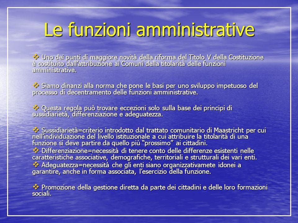 Le funzioni amministrative