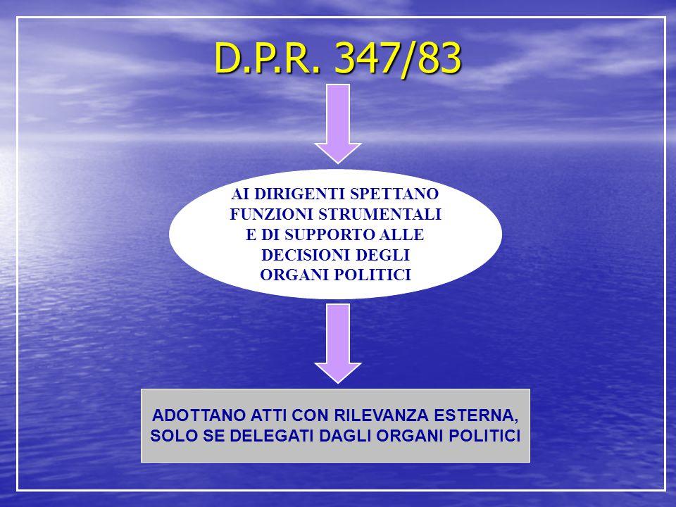 D.P.R. 347/83 AI DIRIGENTI SPETTANO FUNZIONI STRUMENTALI E DI SUPPORTO ALLE DECISIONI DEGLI ORGANI POLITICI.