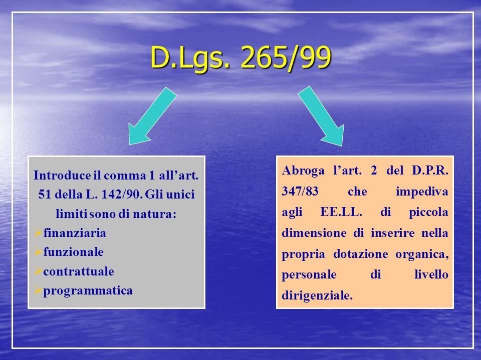 D.Lgs. 265/99 Introduce il comma 1 all'art. 51 della L. 142/90. Gli unici limiti sono di natura: finanziaria.