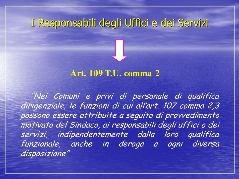 I Responsabili degli Uffici e dei Servizi
