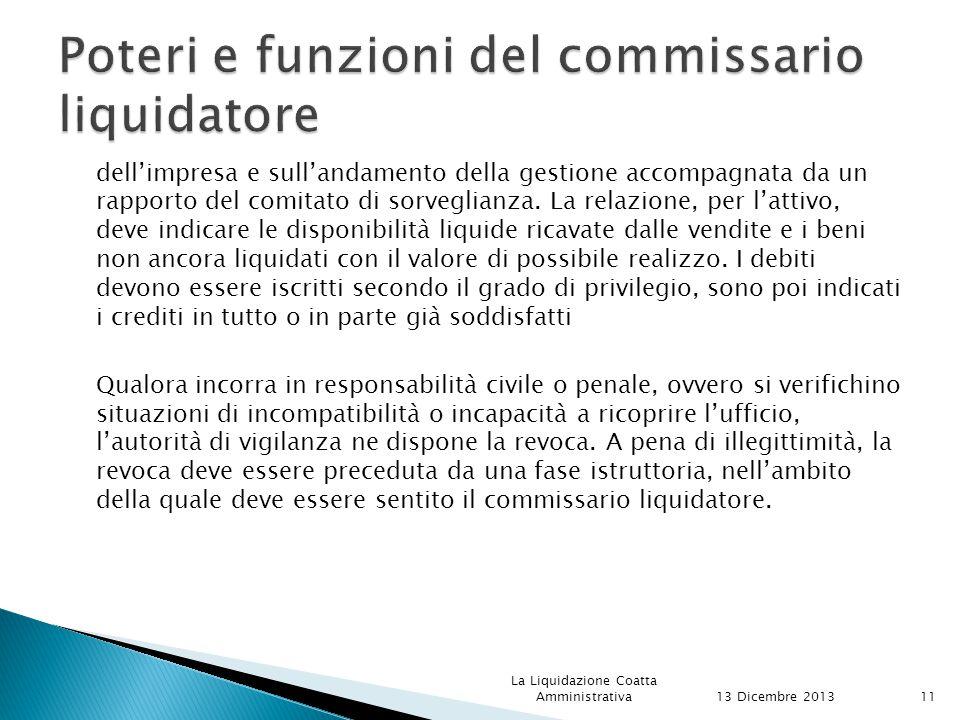 Poteri e funzioni del commissario liquidatore