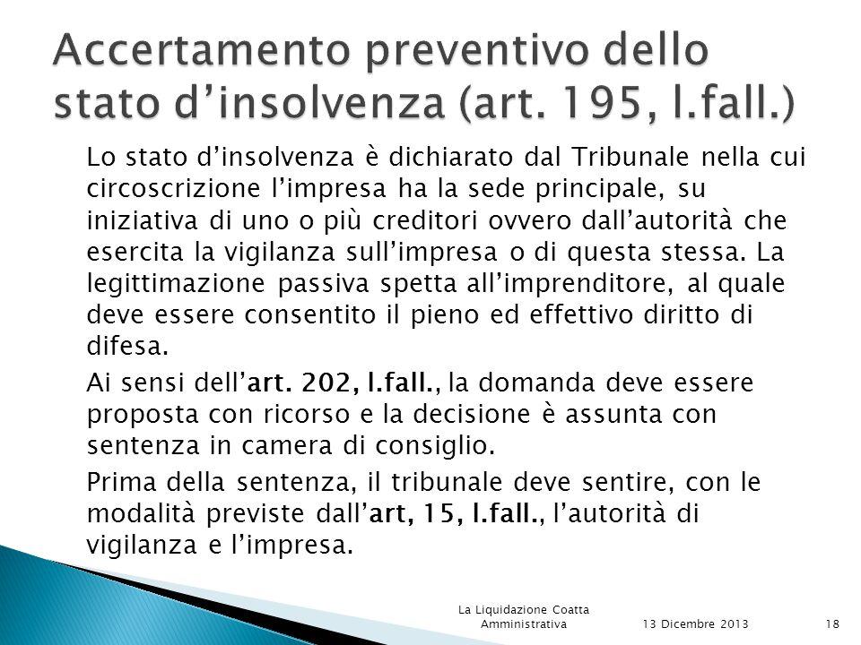 Accertamento preventivo dello stato d'insolvenza (art. 195, l.fall.)
