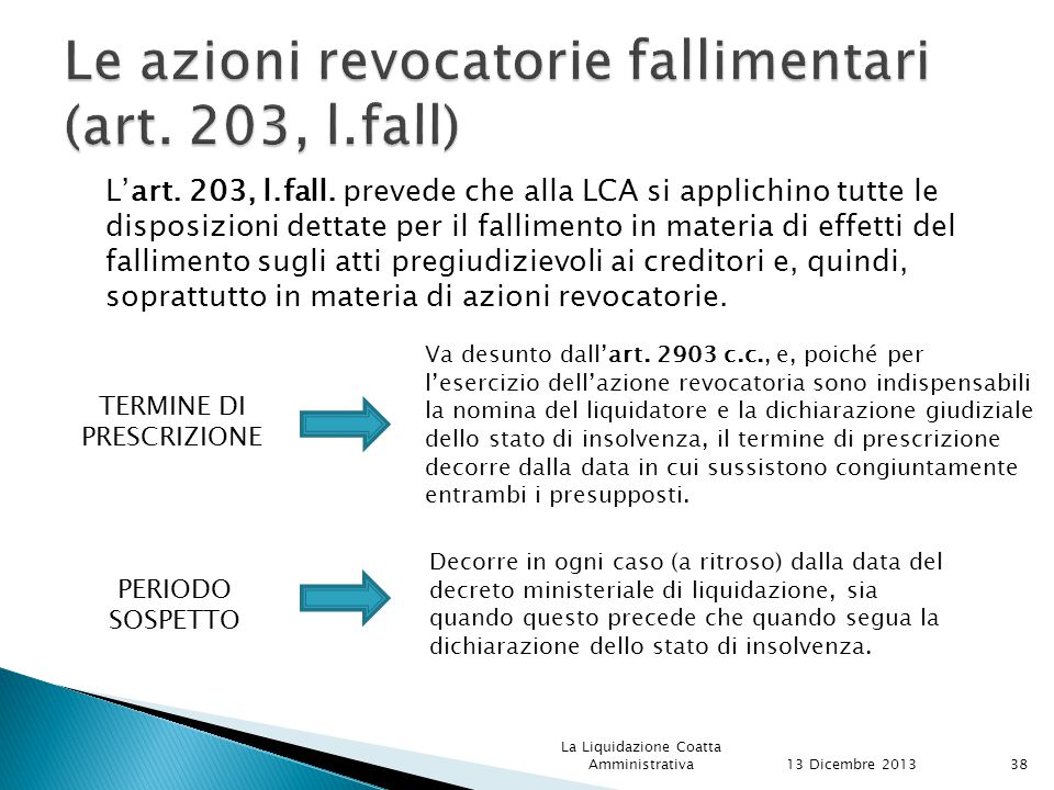Le azioni revocatorie fallimentari (art. 203, l.fall)