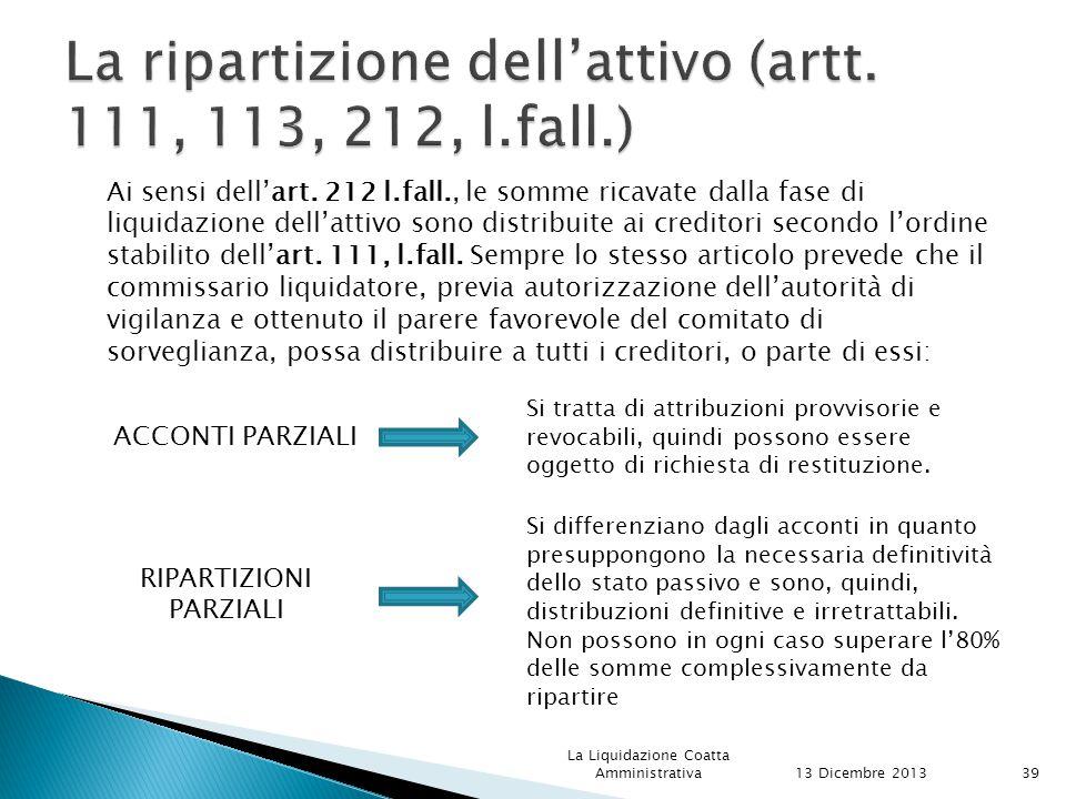 La ripartizione dell'attivo (artt. 111, 113, 212, l.fall.)
