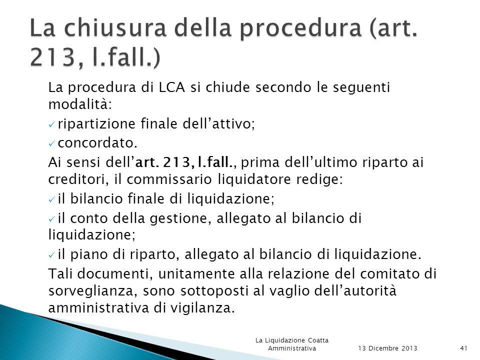 La chiusura della procedura (art. 213, l.fall.)