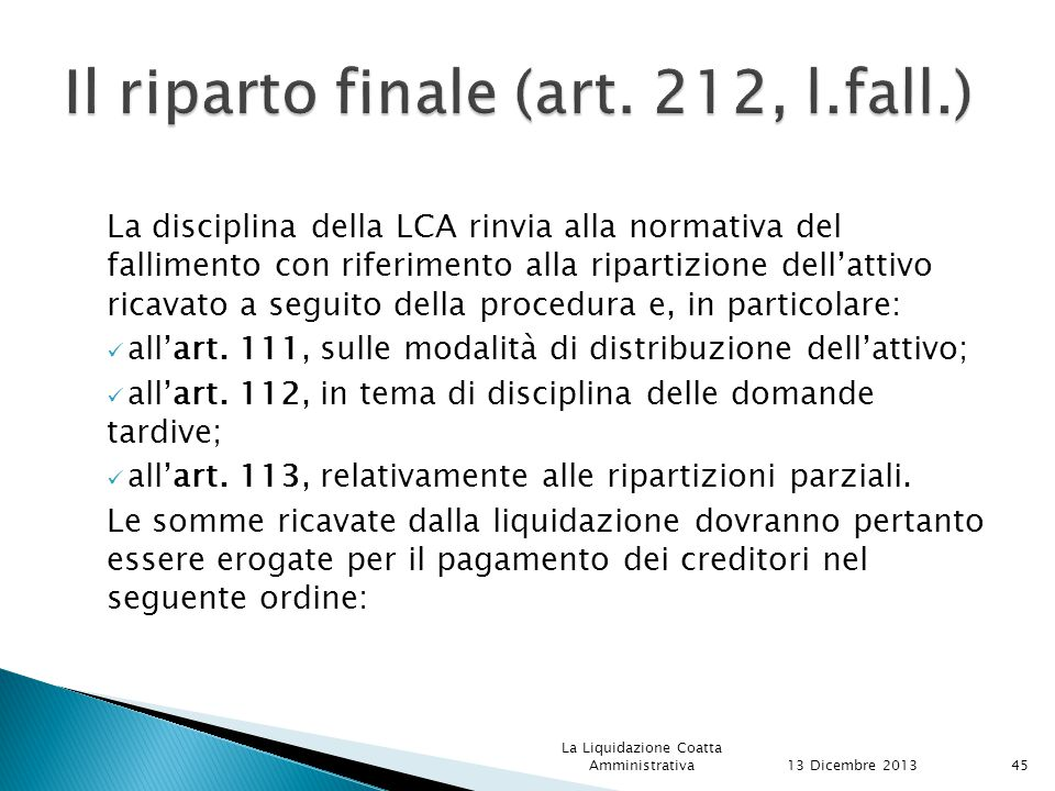 Il riparto finale (art. 212, l.fall.)