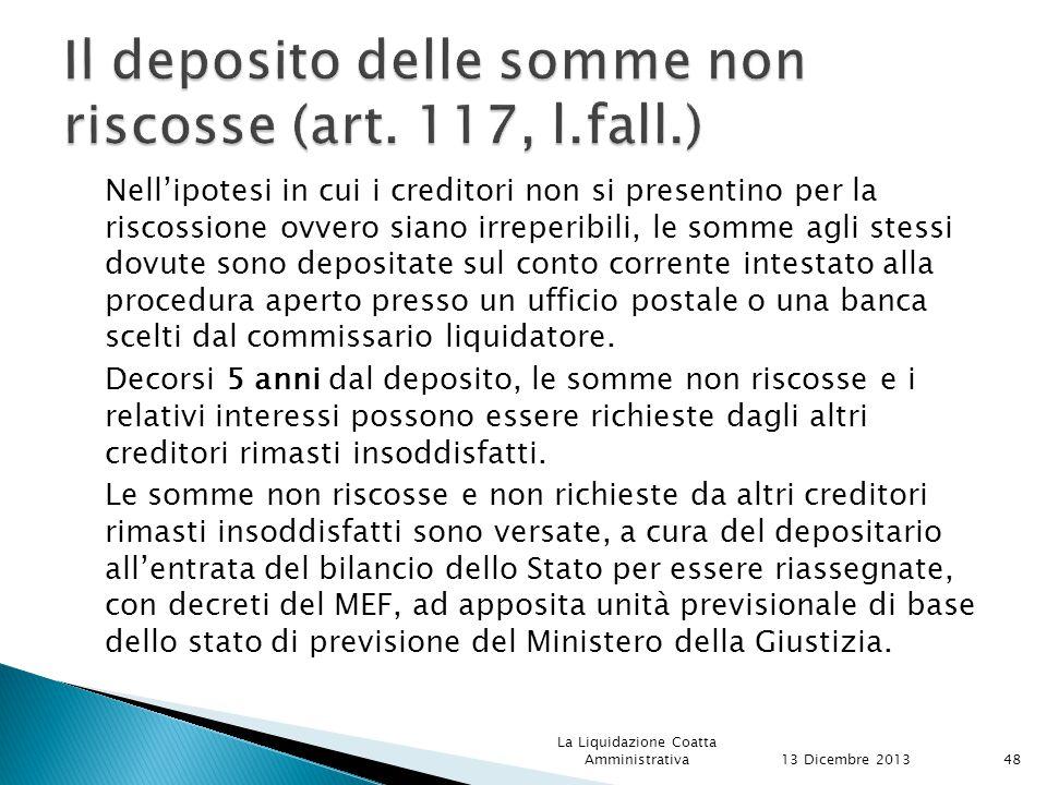 Il deposito delle somme non riscosse (art. 117, l.fall.)