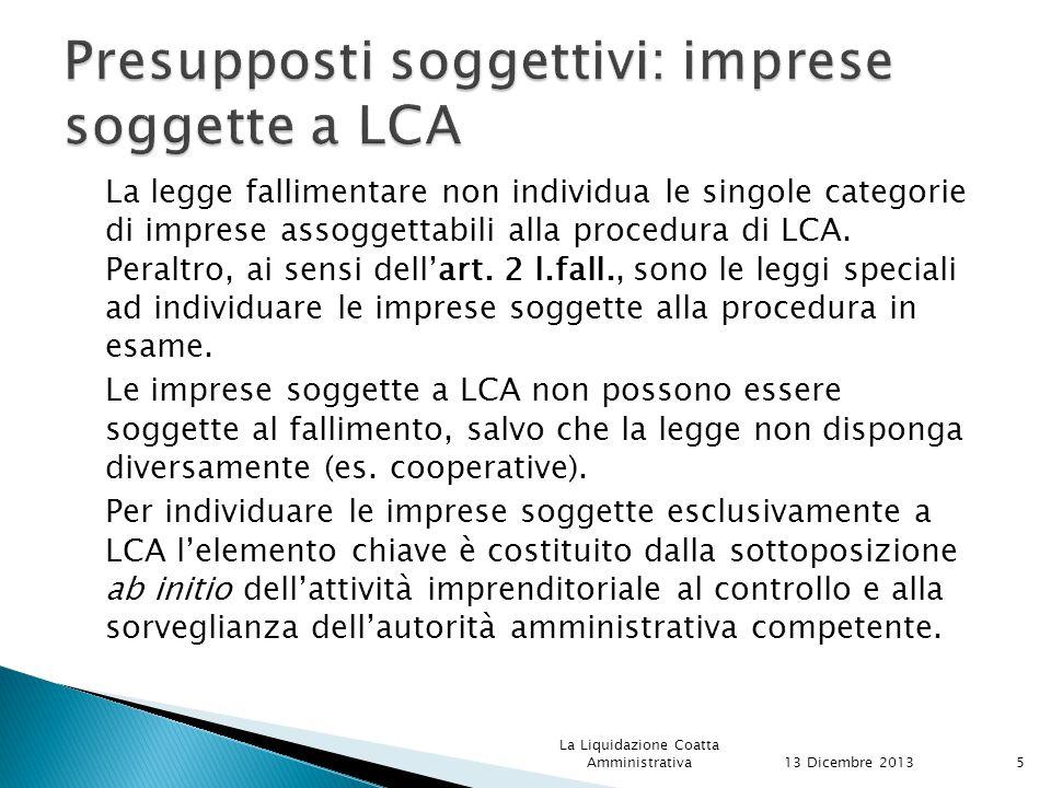 Presupposti soggettivi: imprese soggette a LCA