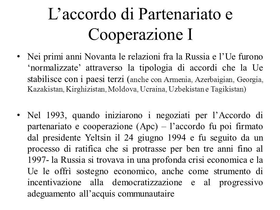L'accordo di Partenariato e Cooperazione I