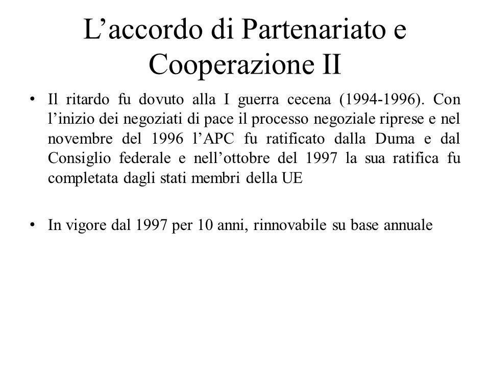 L'accordo di Partenariato e Cooperazione II