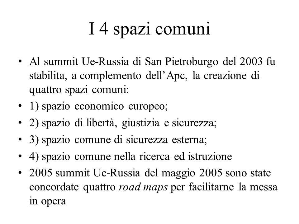 I 4 spazi comuni Al summit Ue-Russia di San Pietroburgo del 2003 fu stabilita, a complemento dell'Apc, la creazione di quattro spazi comuni:
