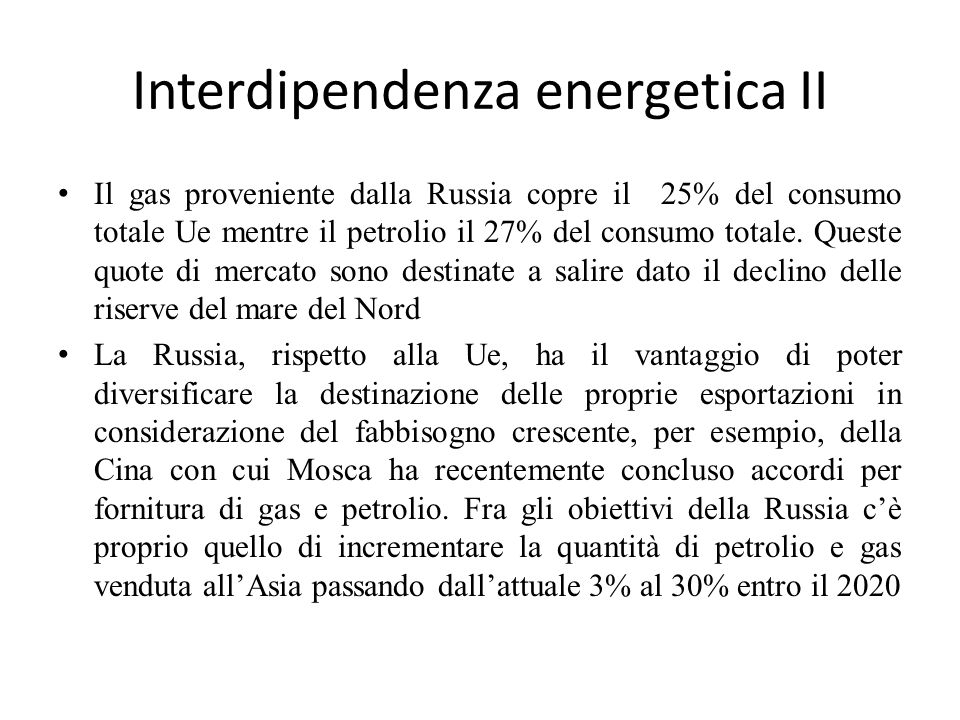 Interdipendenza energetica II
