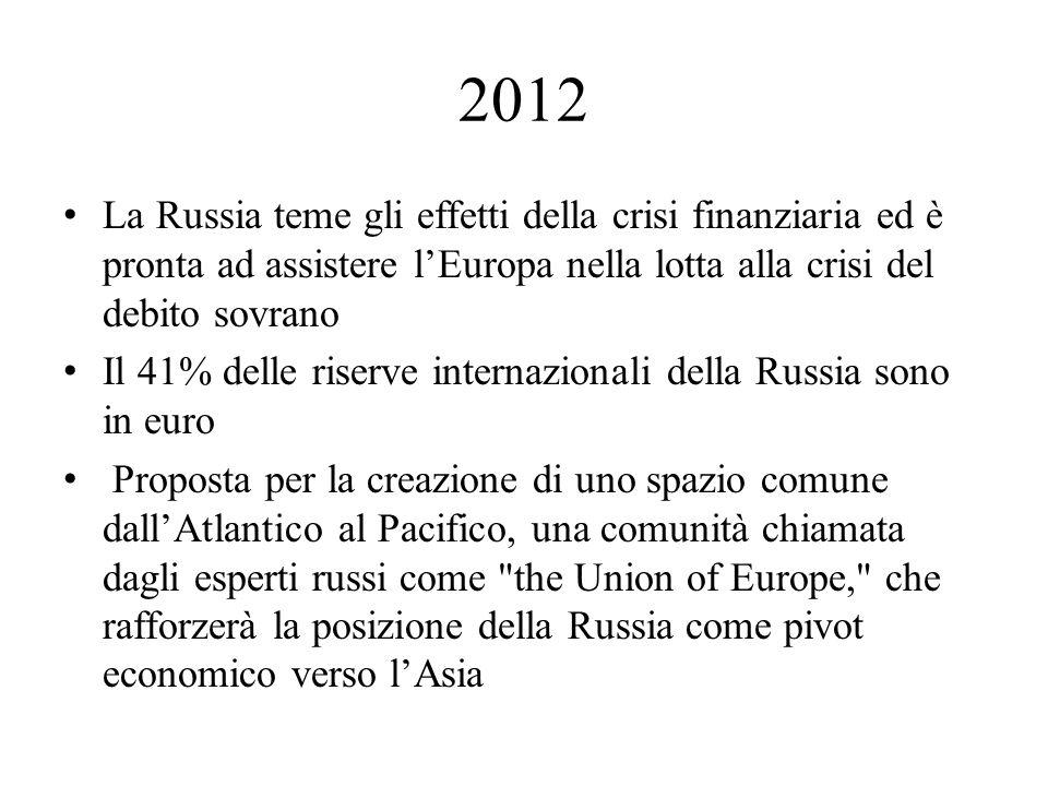 2012 La Russia teme gli effetti della crisi finanziaria ed è pronta ad assistere l'Europa nella lotta alla crisi del debito sovrano.