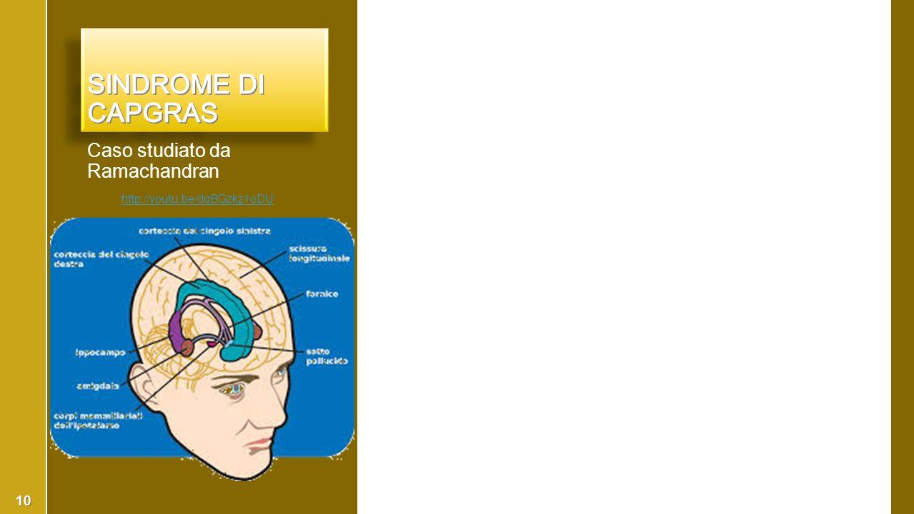 Sindrome di Capgras Caso studiato da Ramachandran