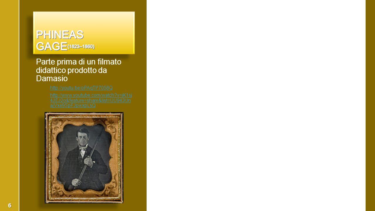 Phineas Gage(1823–1860) Parte prima di un filmato didattico prodotto da Damasio. http://youtu.be/oPAqTP7058Q.