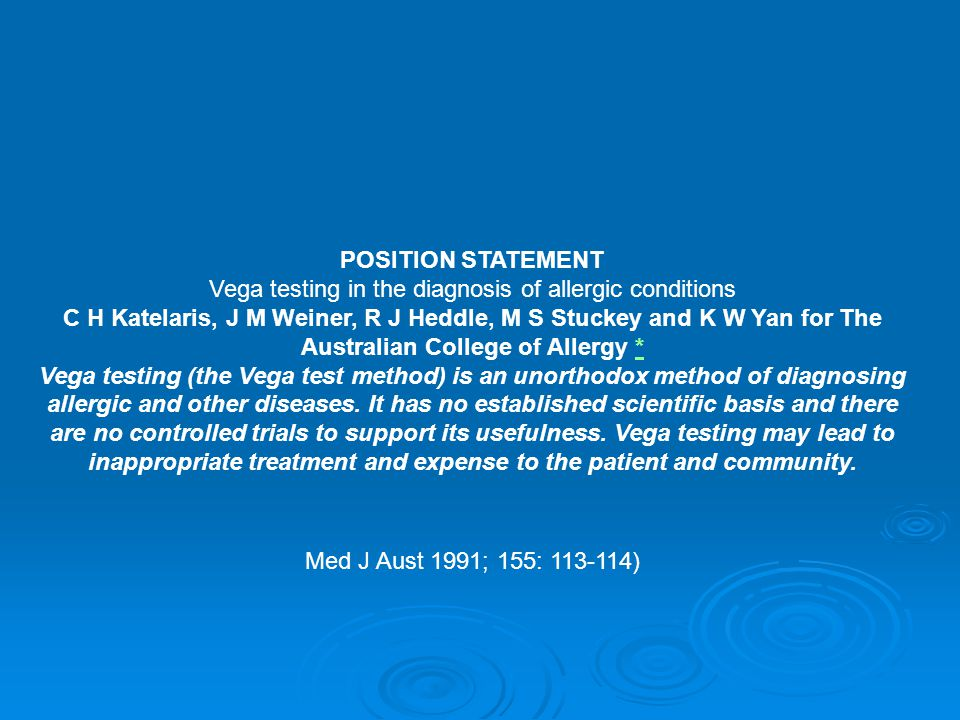 Vega testing in the diagnosis of allergic conditions