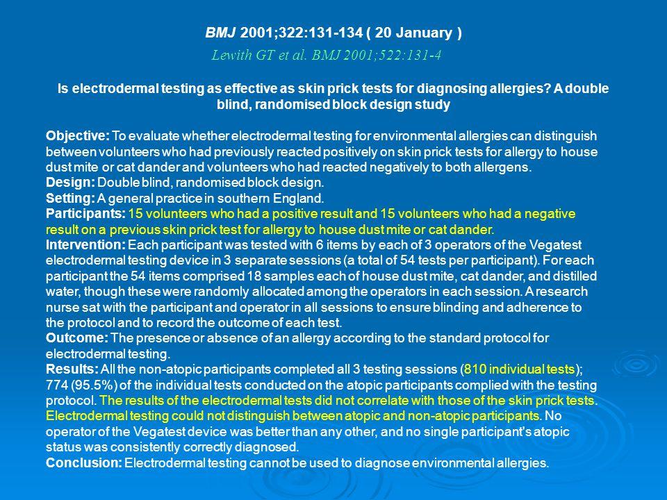 BMJ 2001;322:131-134 ( 20 January )