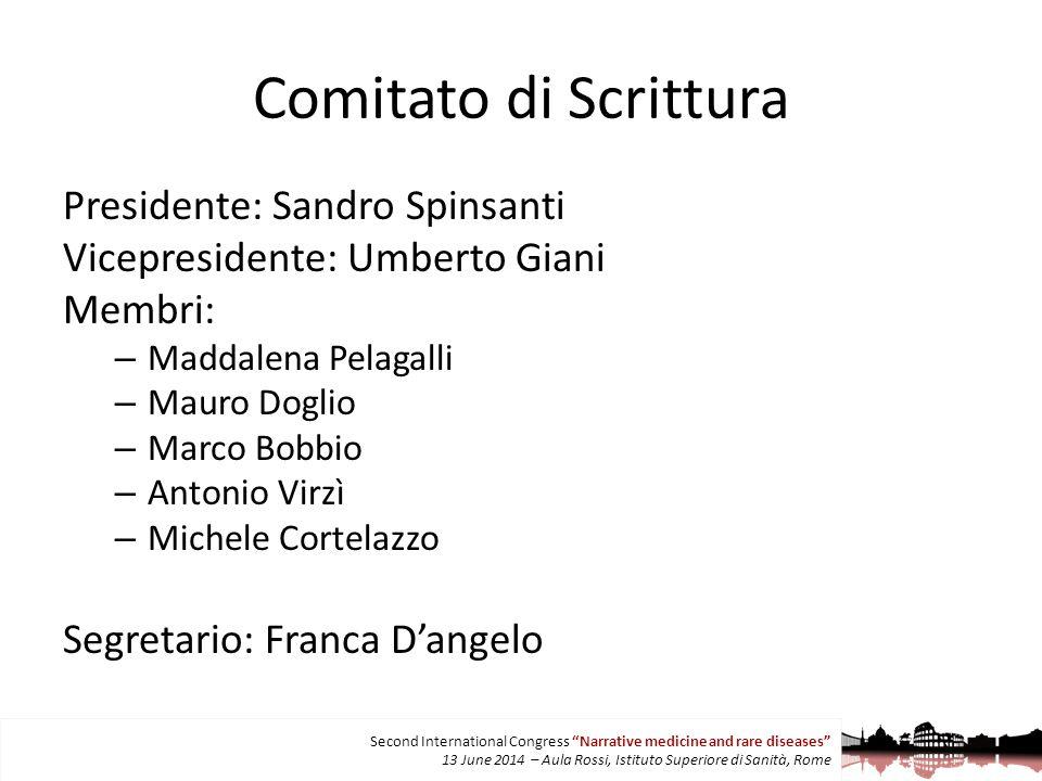 Comitato di Scrittura Presidente: Sandro Spinsanti