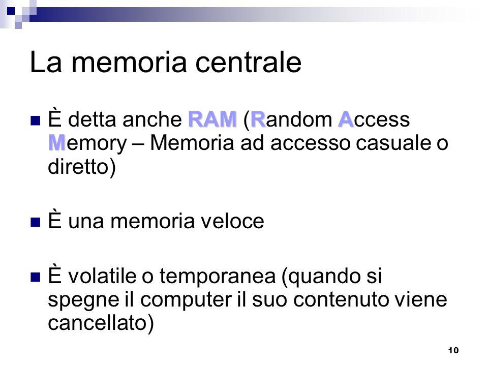 La memoria centrale È detta anche RAM (Random Access Memory – Memoria ad accesso casuale o diretto)