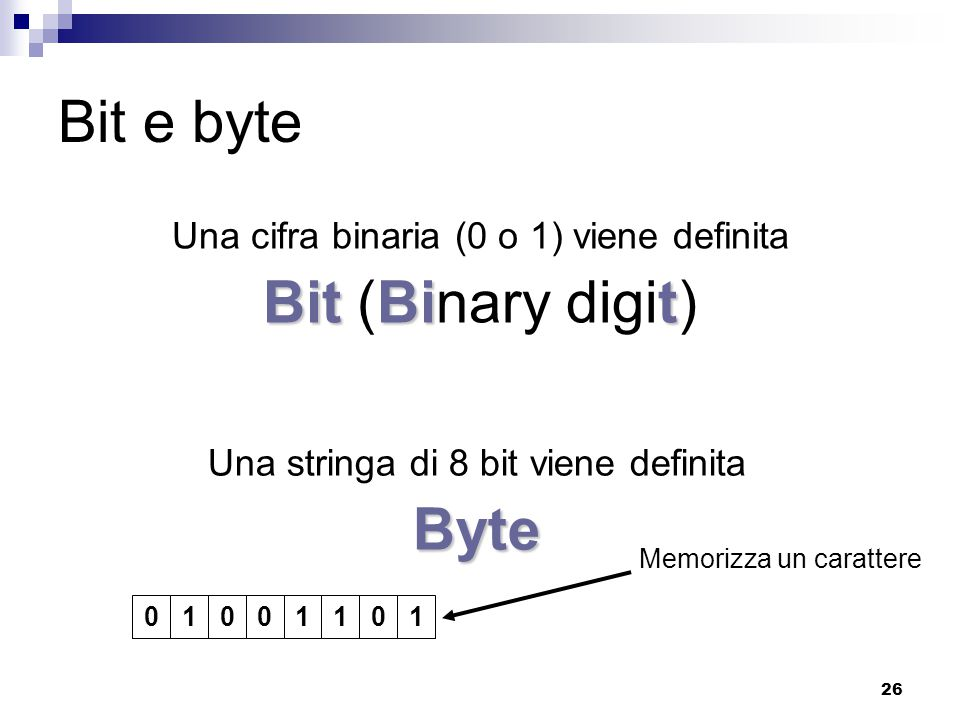 Bit e byte Bit (Binary digit) Byte
