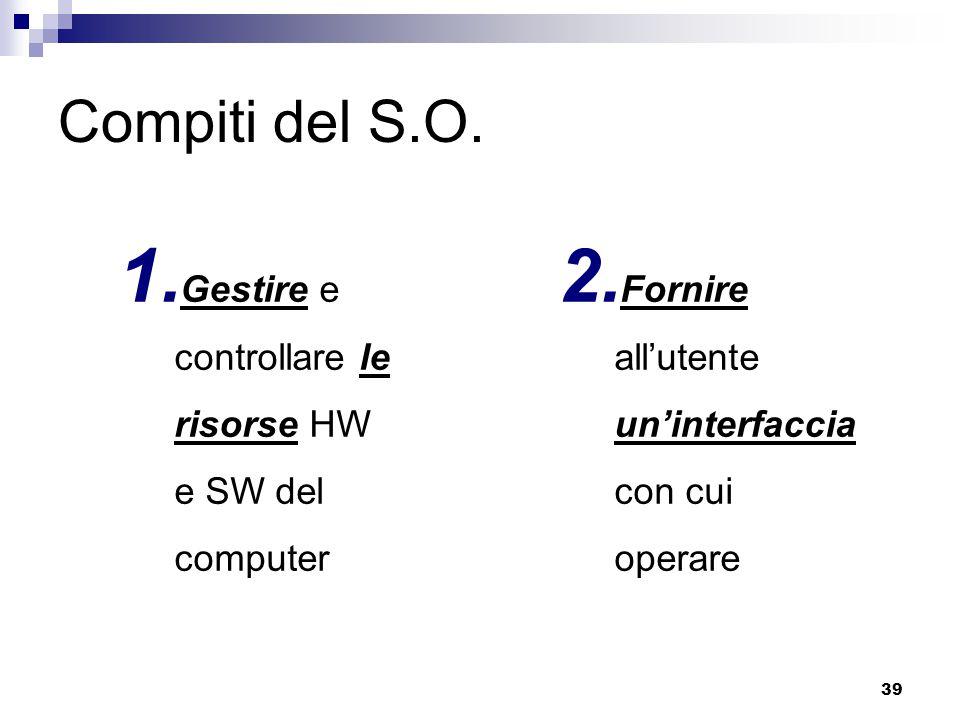Compiti del S.O. Gestire e controllare le risorse HW e SW del computer