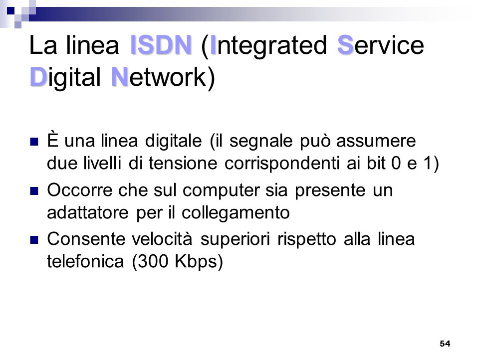 La linea ISDN (Integrated Service Digital Network)