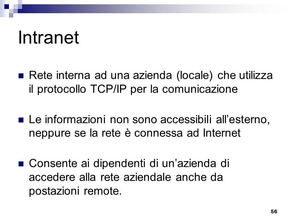 Intranet Rete interna ad una azienda (locale) che utilizza il protocollo TCP/IP per la comunicazione.