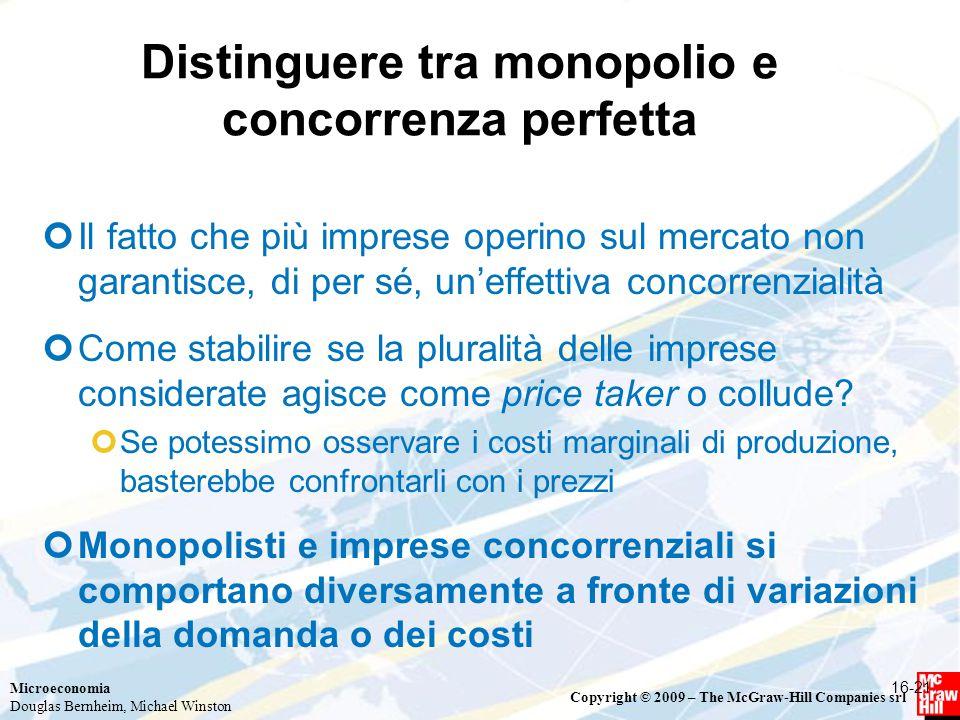 Distinguere tra monopolio e concorrenza perfetta
