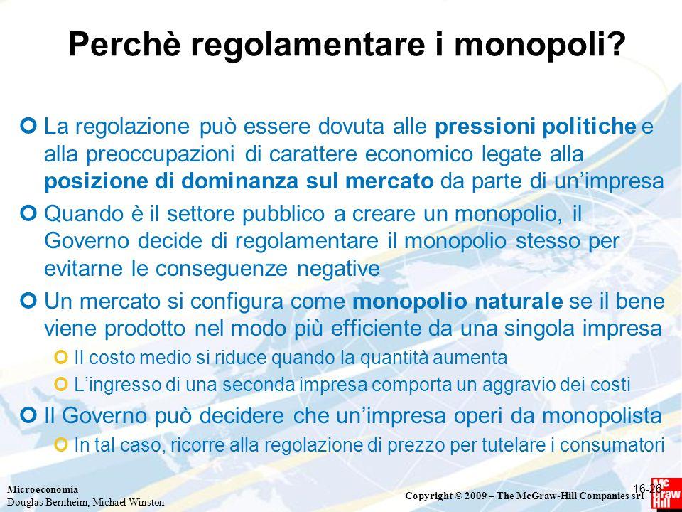 Perchè regolamentare i monopoli