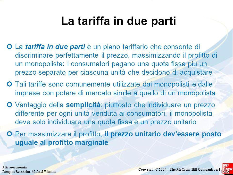 La tariffa in due parti