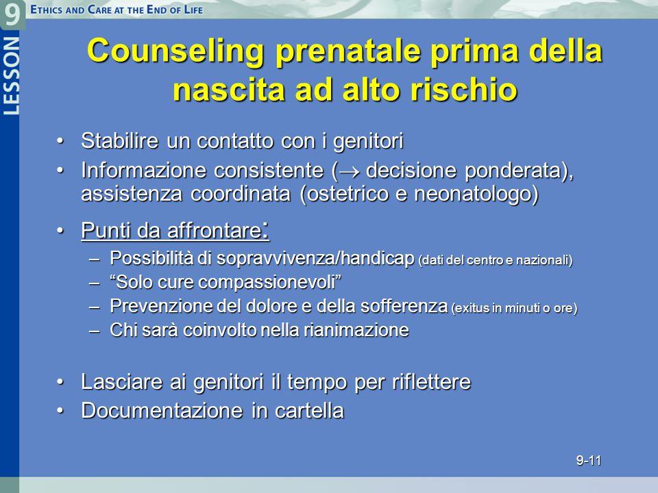 Counseling prenatale prima della nascita ad alto rischio