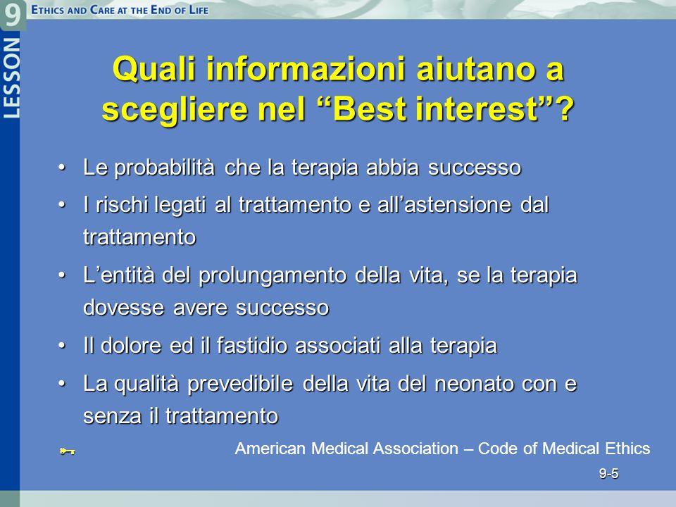 Quali informazioni aiutano a scegliere nel Best interest