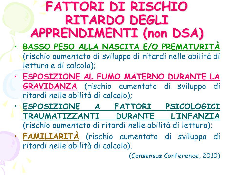 FATTORI DI RISCHIO RITARDO DEGLI APPRENDIMENTI (non DSA)