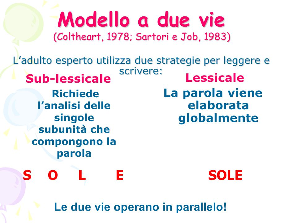 La parola viene elaborata globalmente Le due vie operano in parallelo!