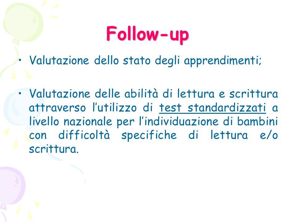 Follow-up Valutazione dello stato degli apprendimenti;