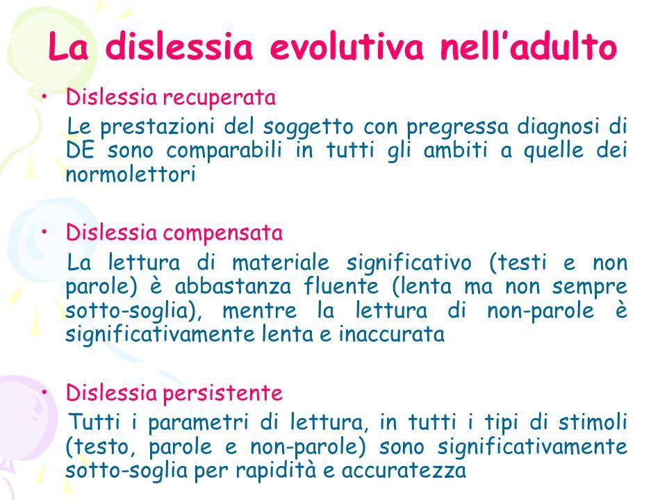 La dislessia evolutiva nell'adulto