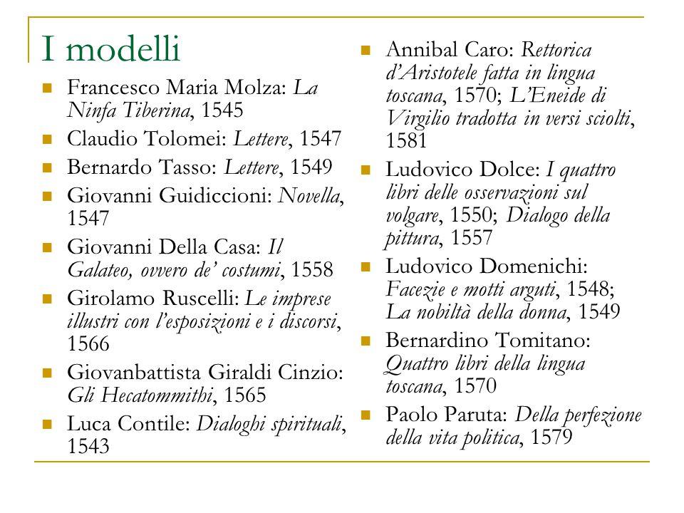 I modelli Annibal Caro: Rettorica d'Aristotele fatta in lingua toscana, 1570; L'Eneide di Virgilio tradotta in versi sciolti, 1581.
